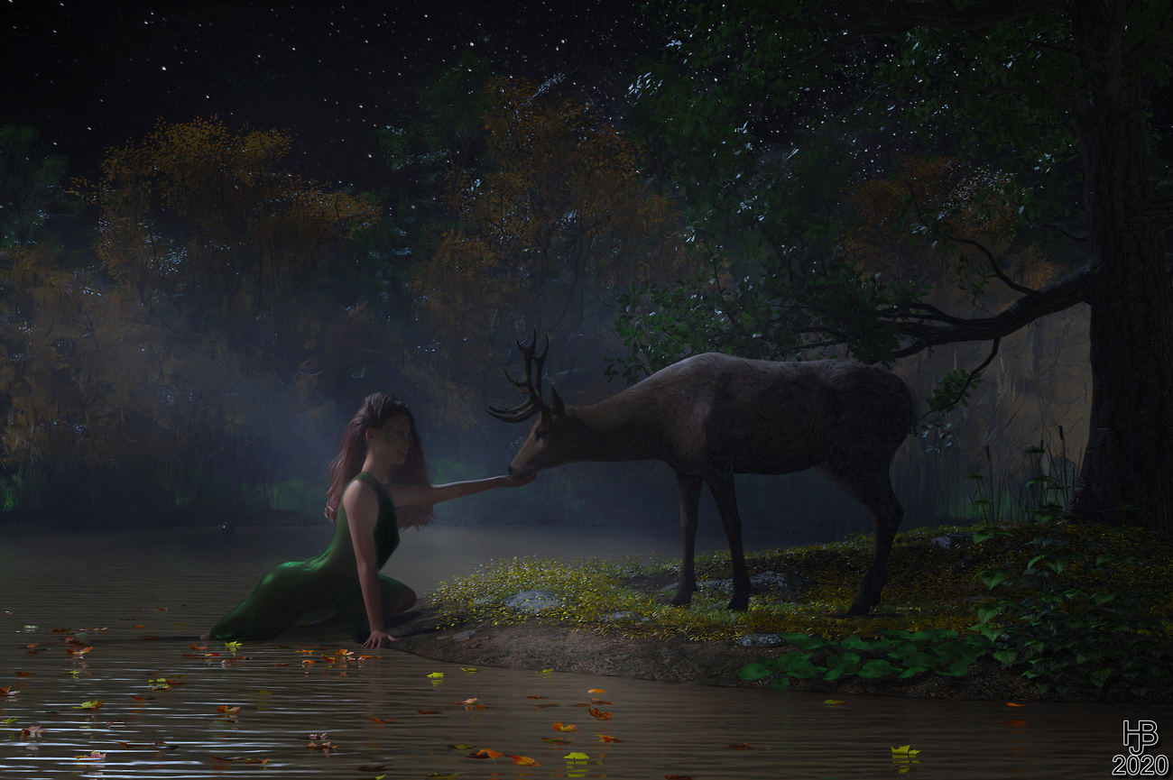 Water nymph and deer by Hajoba