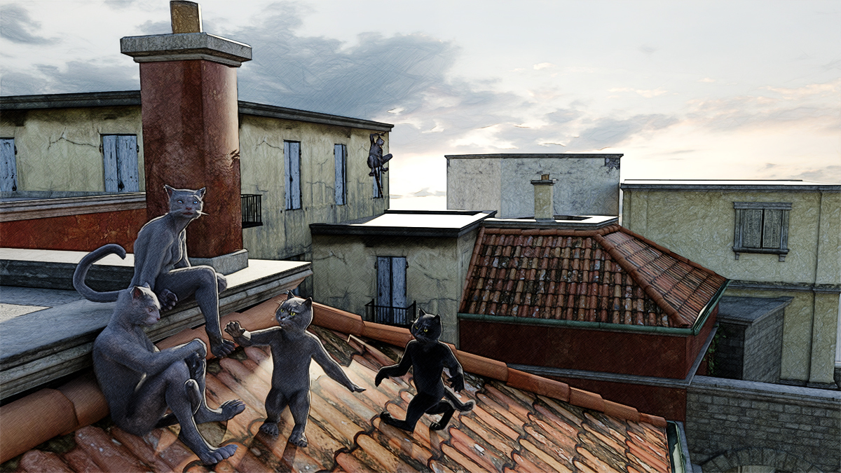 Family of cats on a roof