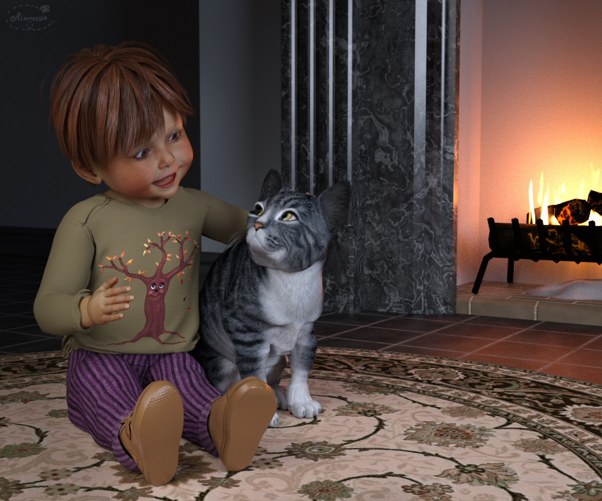 Little boy and Kitty by mininessie