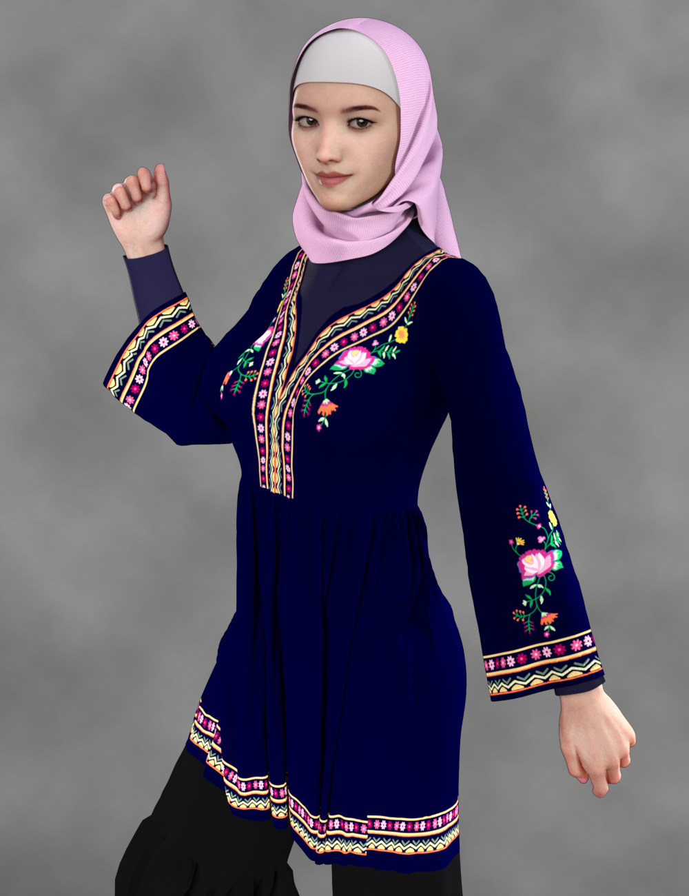 Hijabi girl with short tunic by PinkLotus