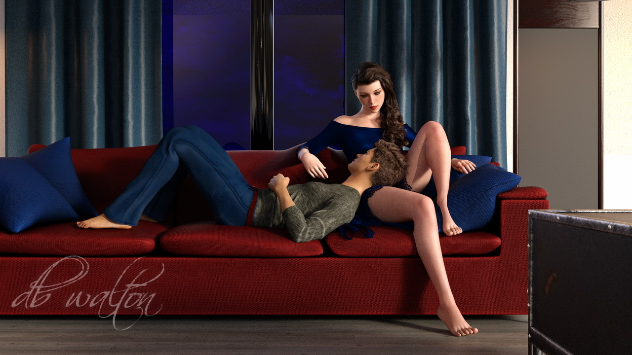 Resting His Head on Her Lap I by dbwalton