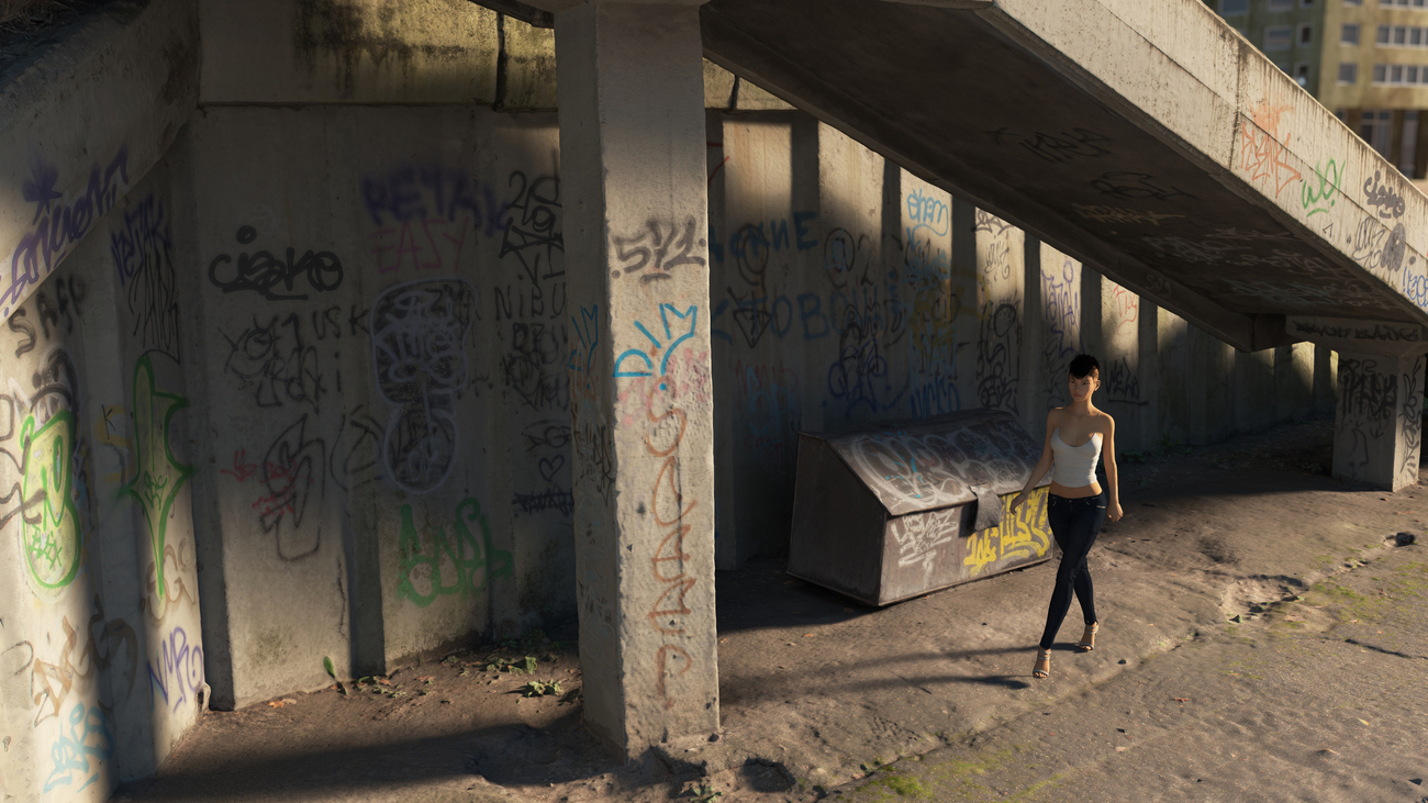 Concrete steps with graffiti by iborg64