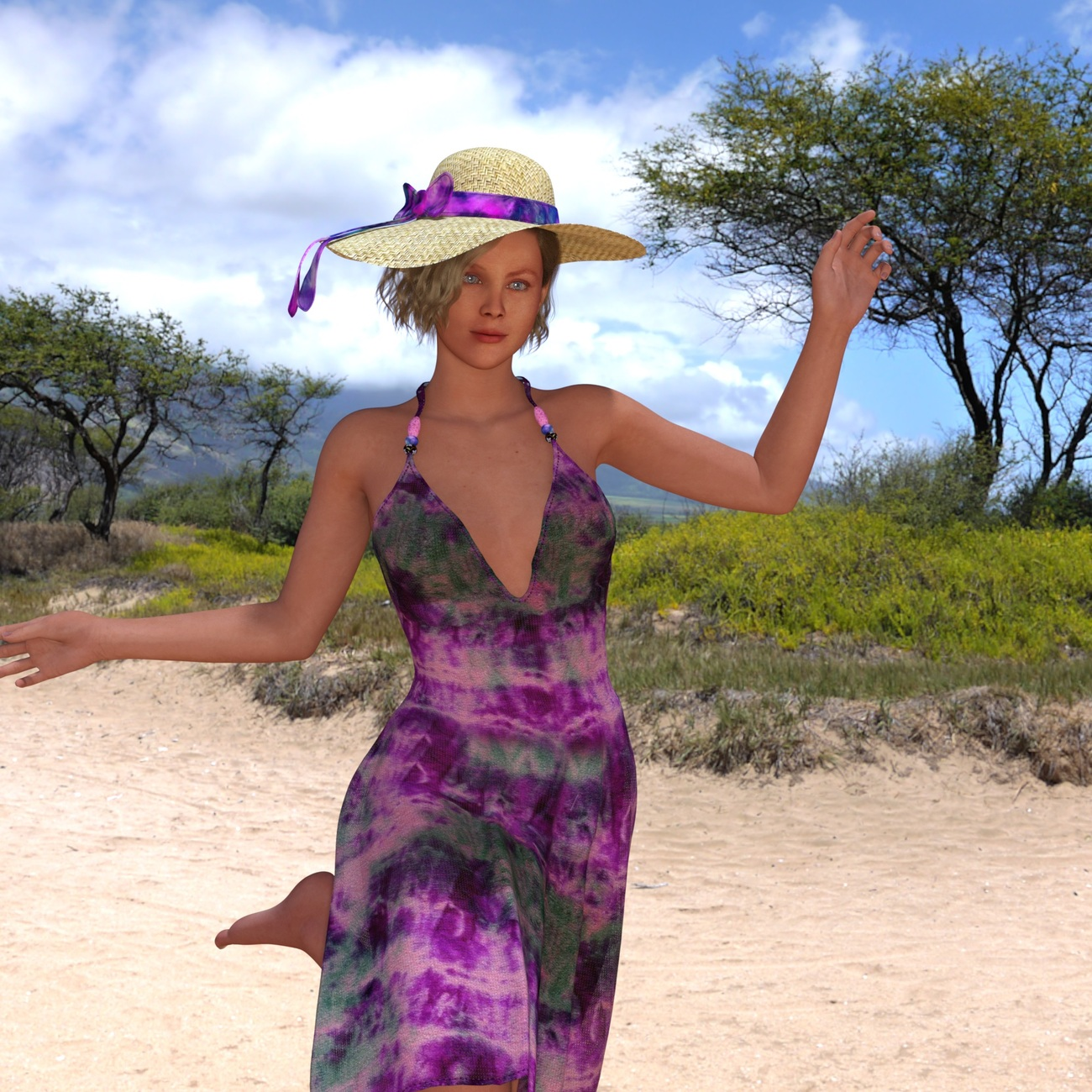 Girl dancing with Hat. by RenderInfer