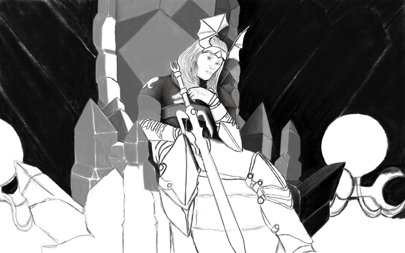 The Throne of Elric Paint Stage 1 (WIP) by moebiustraveller