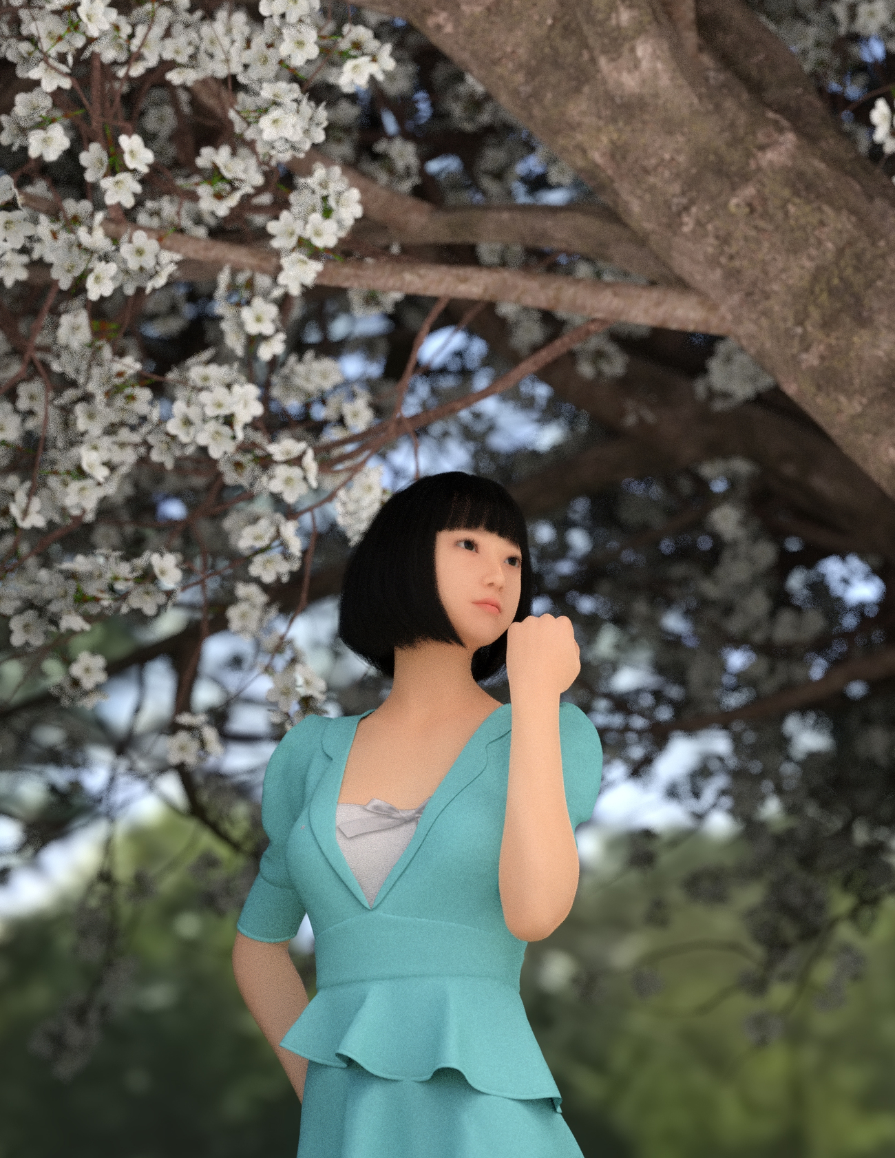 Beibei in dForce Hailee Dress and Sakura tree by x7