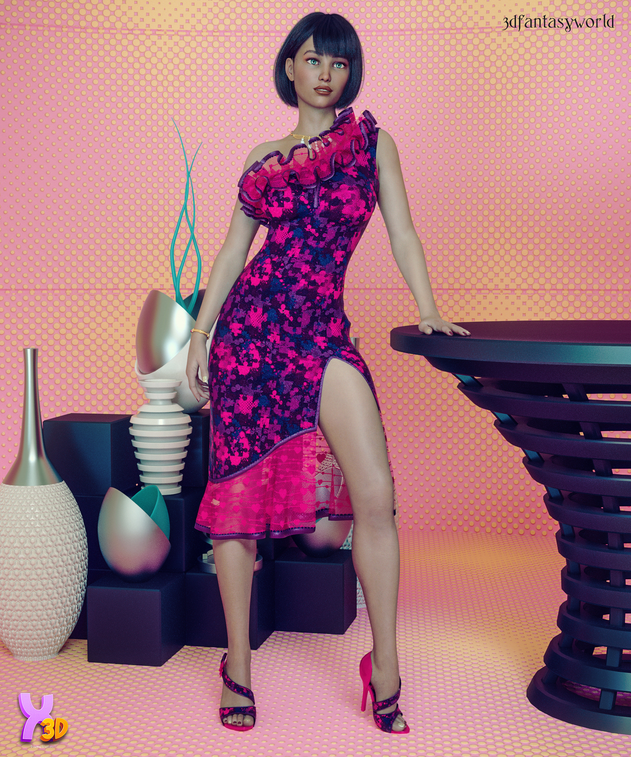 Charm Evening Cocktail Dress Outfit & EX by fantasy3dworld