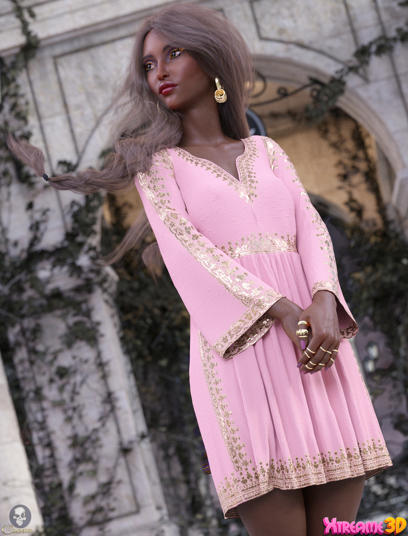 dForce Short Tunic for G8F by PinkLotus by crender