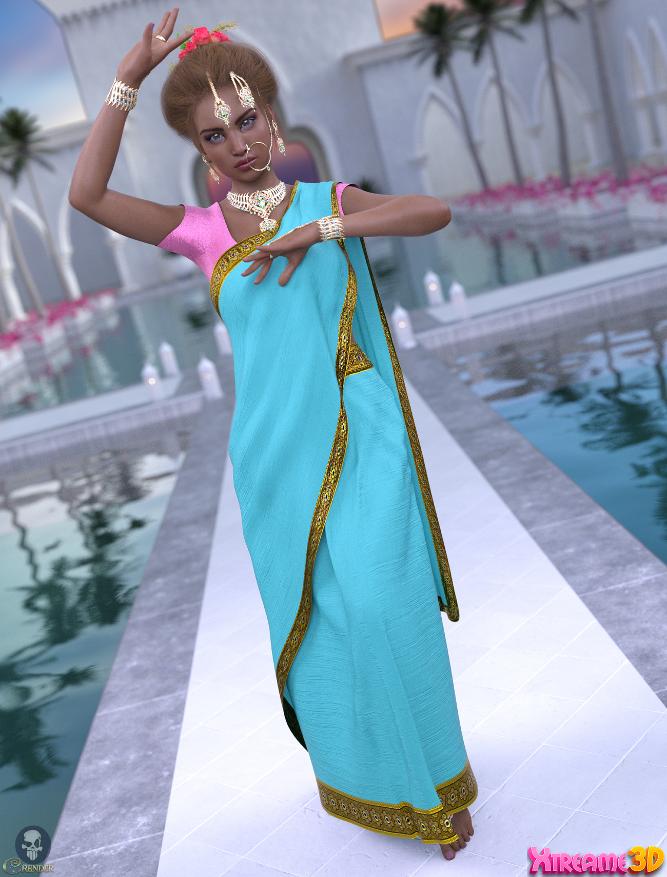 a93 - dForce Saree G8F by anjeli93 2 by crender