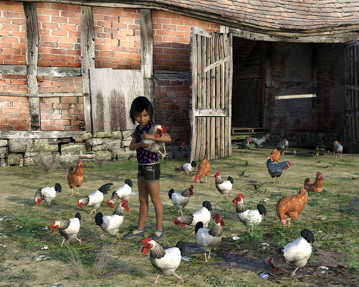 The little girl and her hens by martial