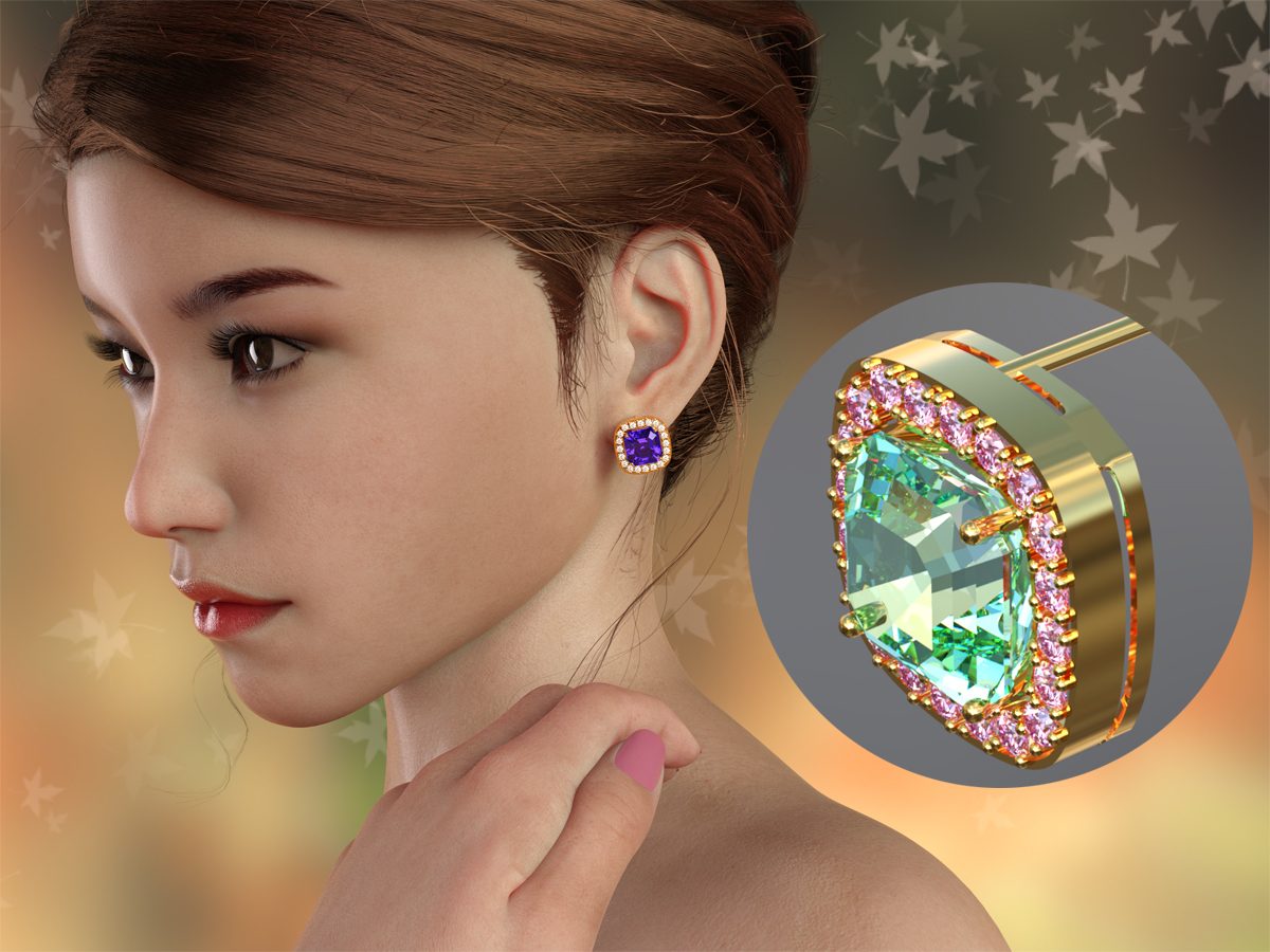 Asscher Earrings freebie by PinkLotus