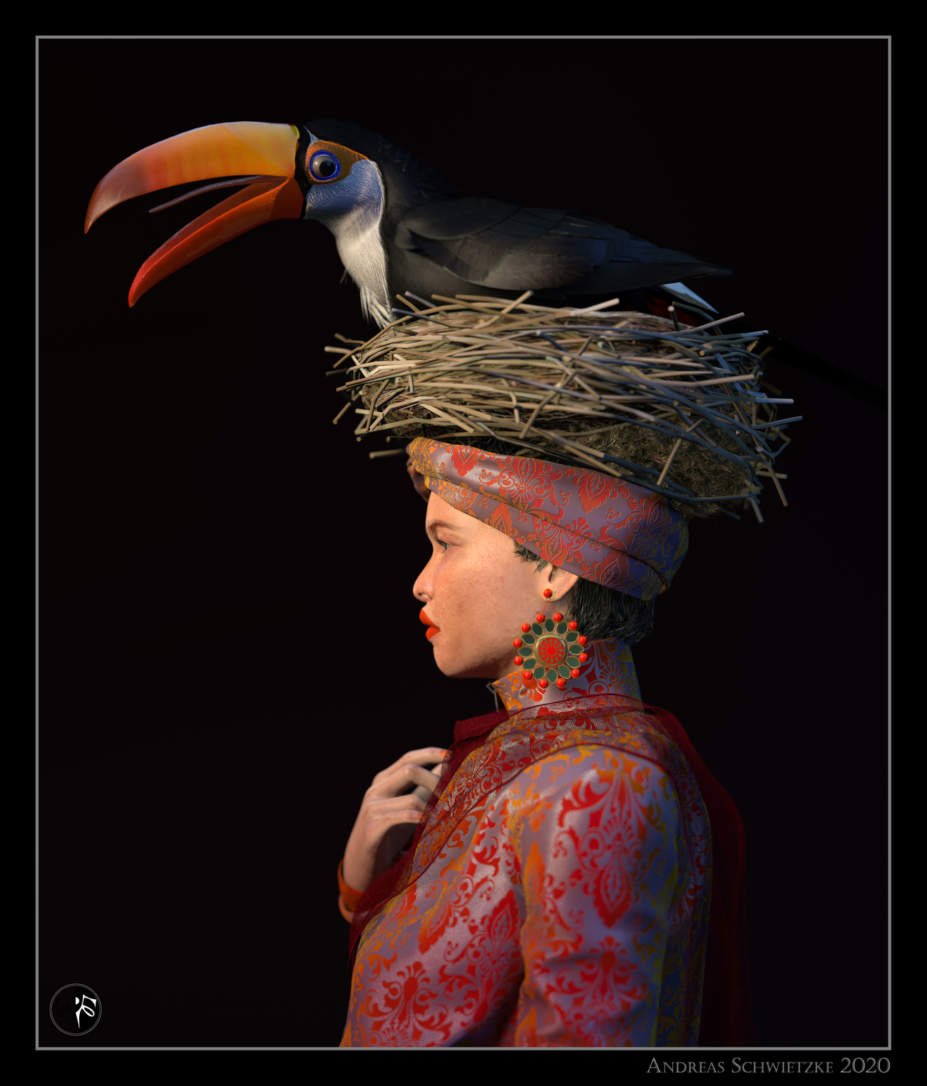 The lady with the toucan. by arteandreas