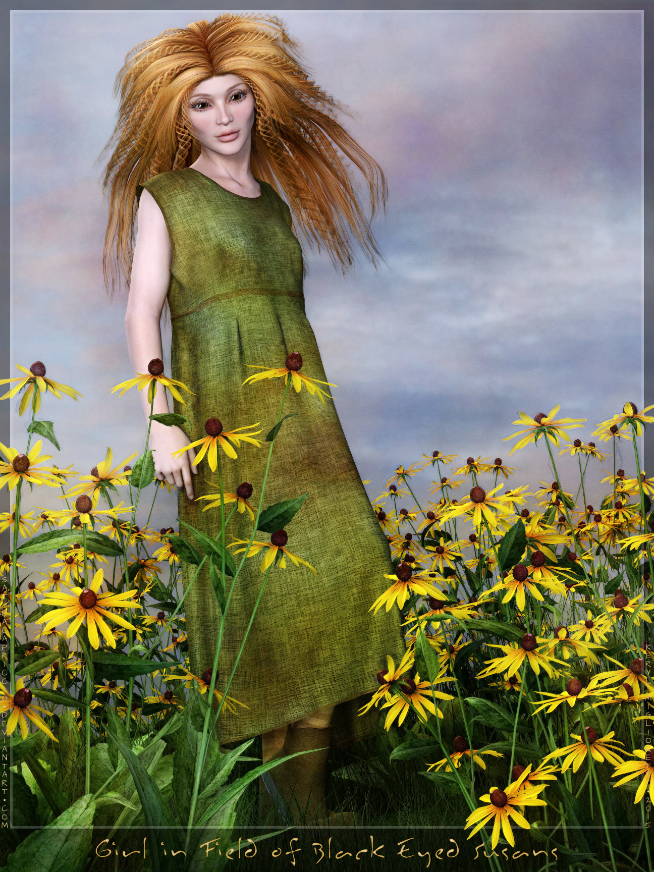 Girl in Field of Black Eyed Susans by SatiraCapriccio
