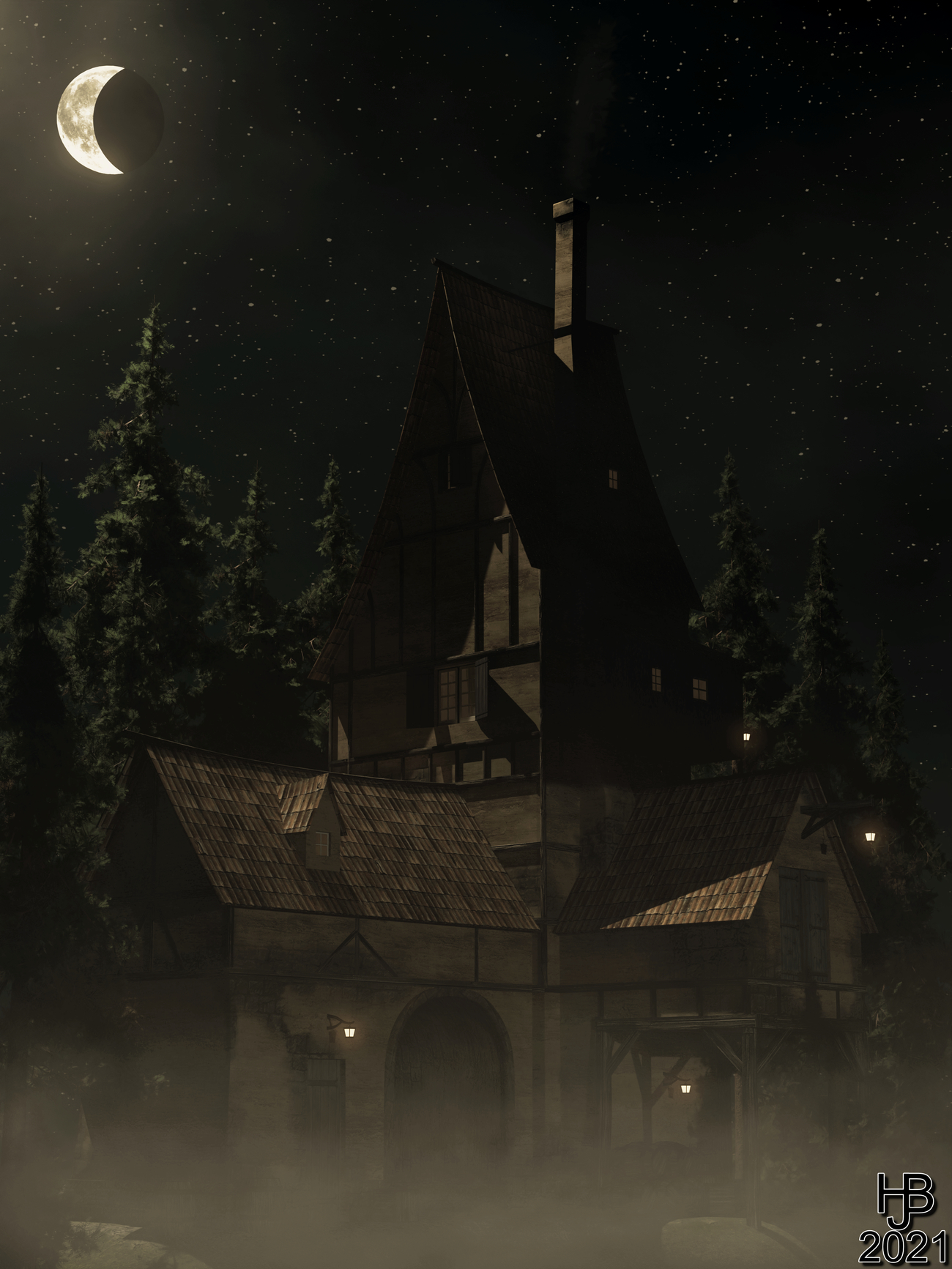 The creepy house in the forest by Hajoba