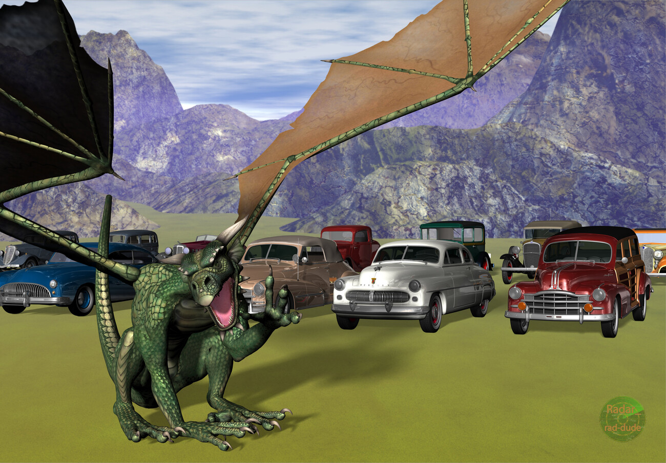 #4104:  Dragon Barney's Used Car Lot by Radar_rad-dude