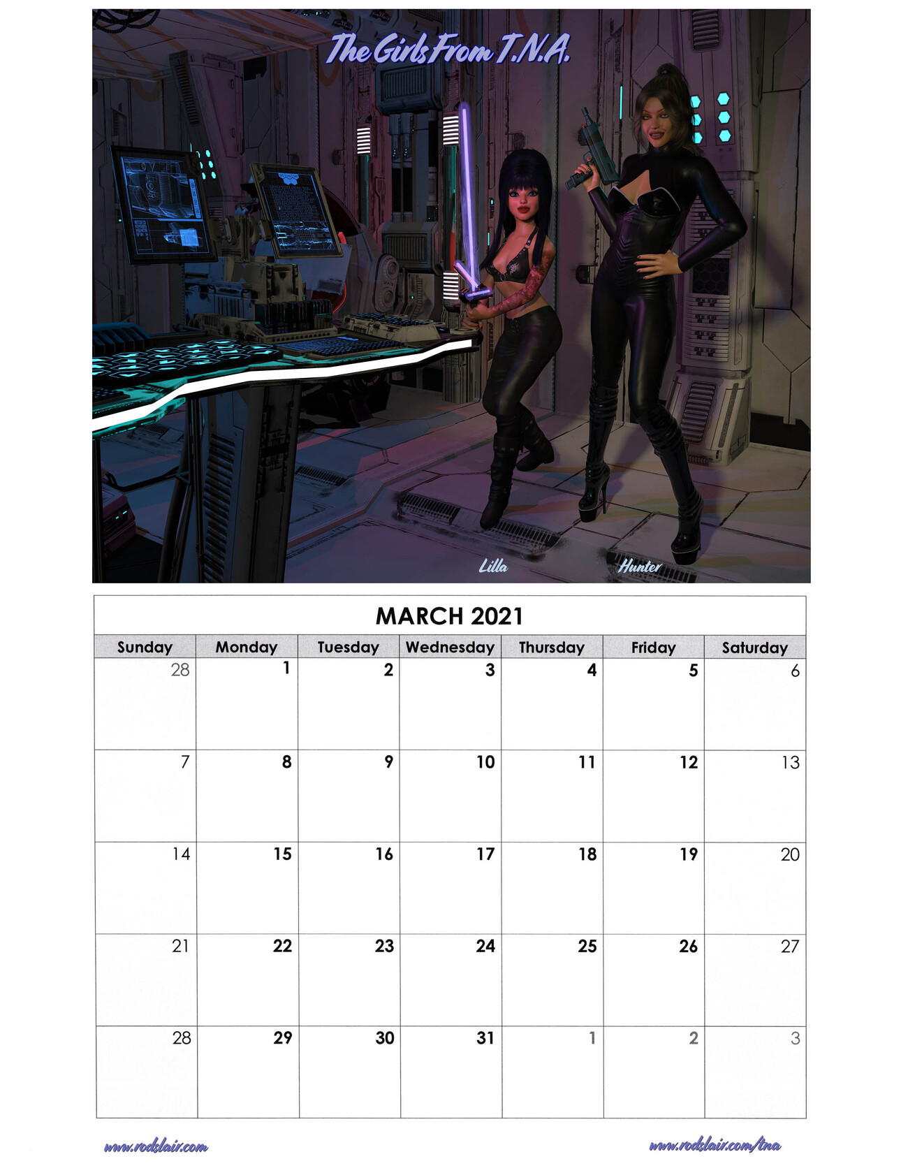 March 2021 TNA Calendar by RodS