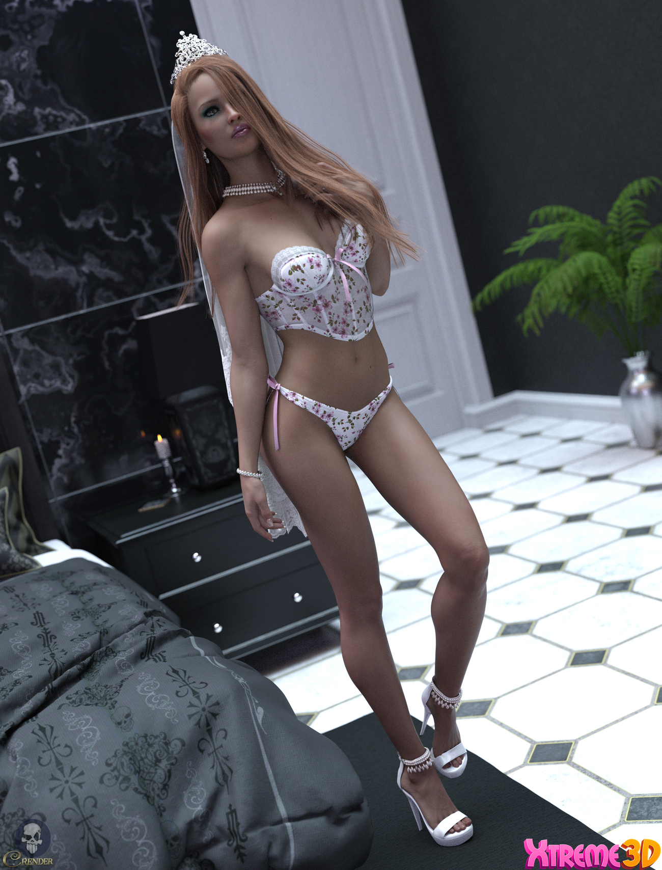 X-Fashion Strappy Lingerie Set by Xtrart-3d by crender