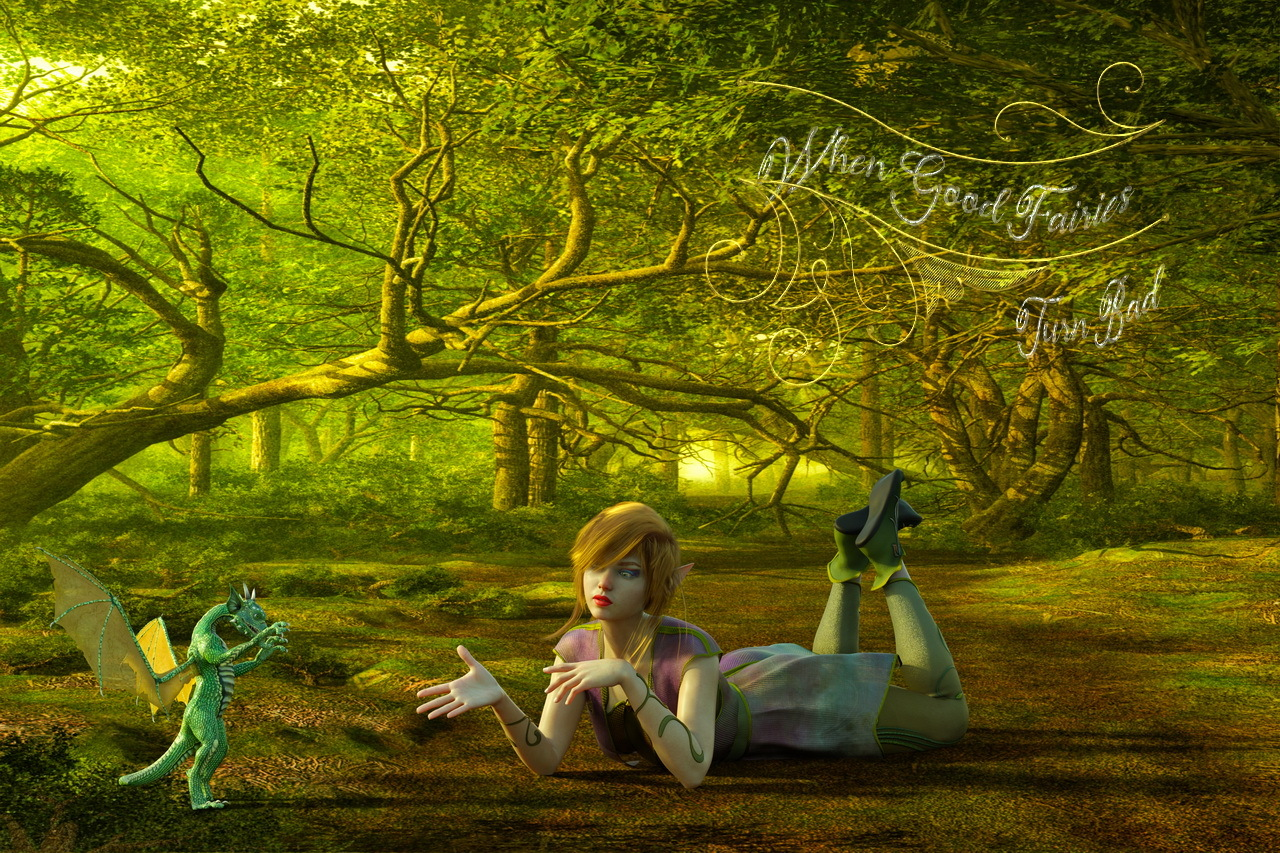She-Elf and Hatchling Negotiating by dbwalton