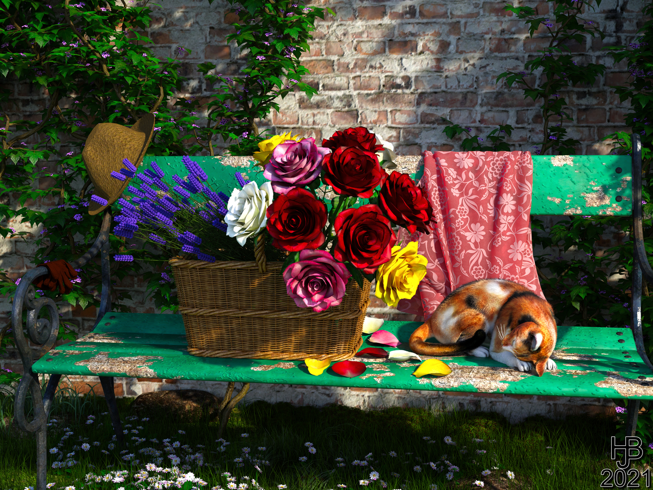 Bench with a basket full of flowers and a cat