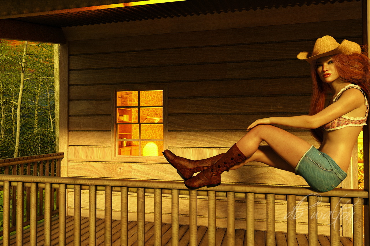 Resting on the Deck of the Cabin