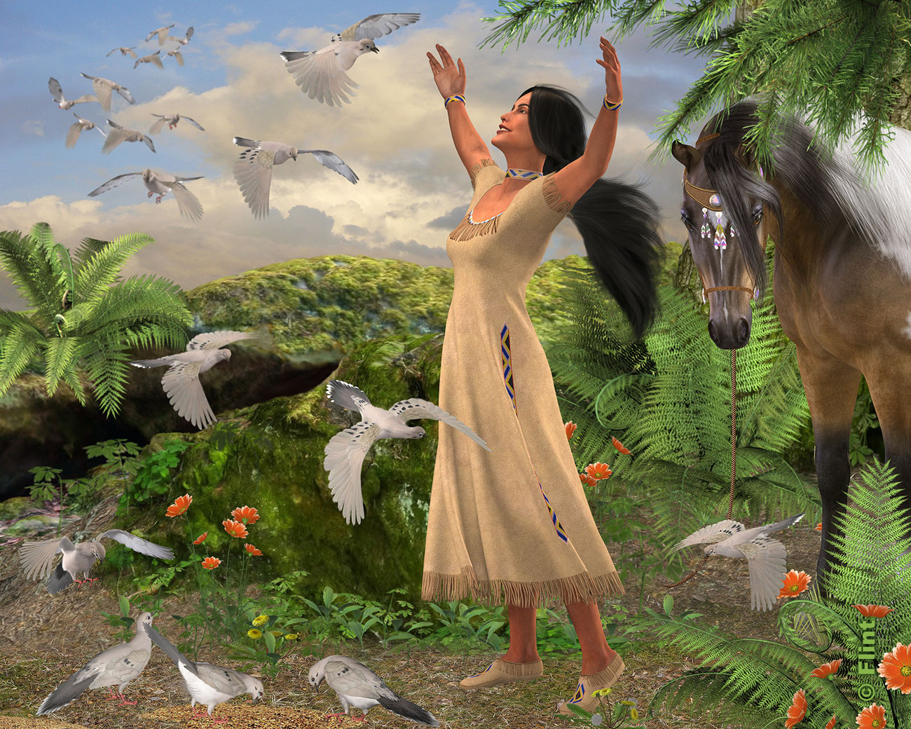 Greeting Her Feathered Friends by Flint_Hawk