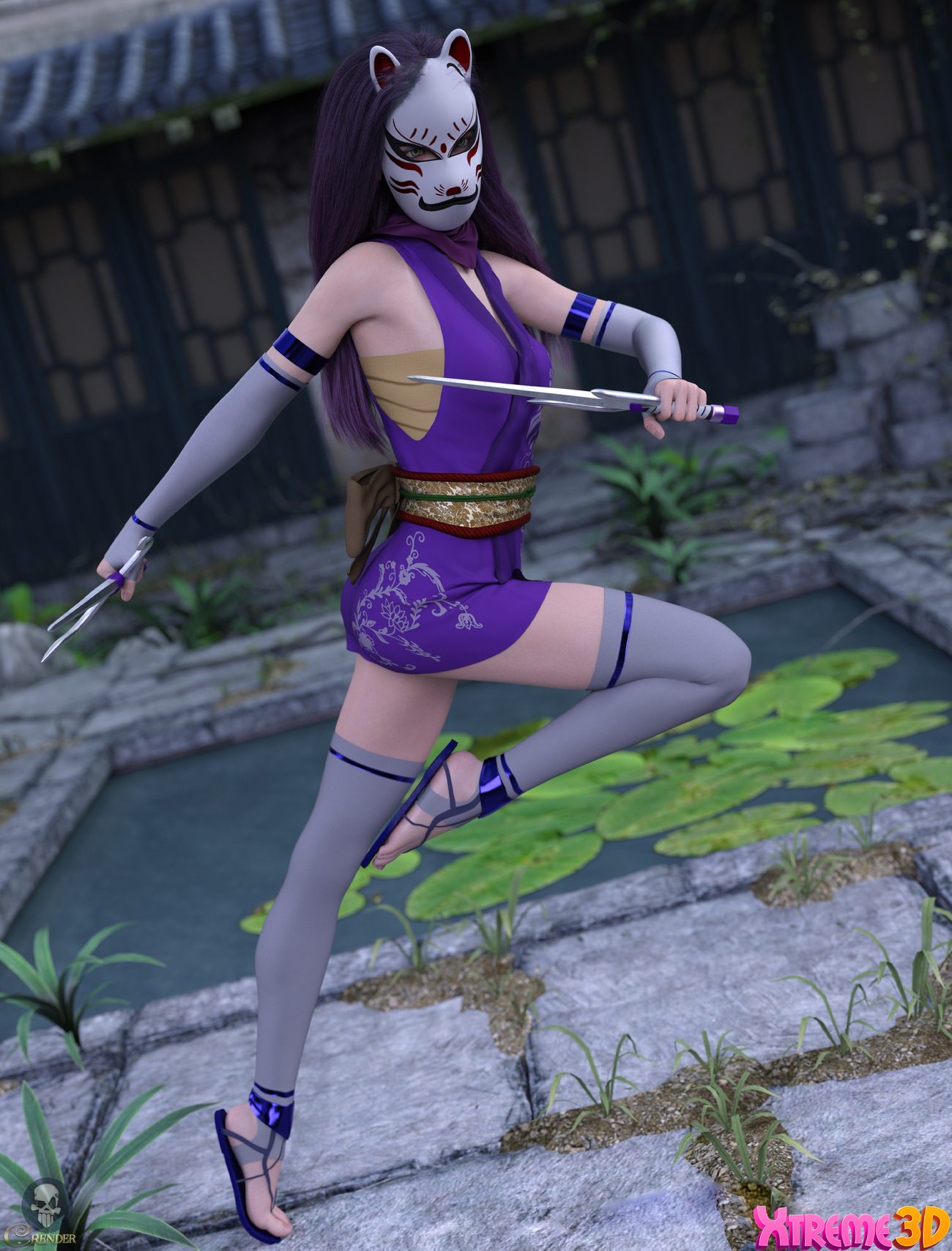 Fantasy Anime Outfit 9 _ Classic Ninja for G8F by crender