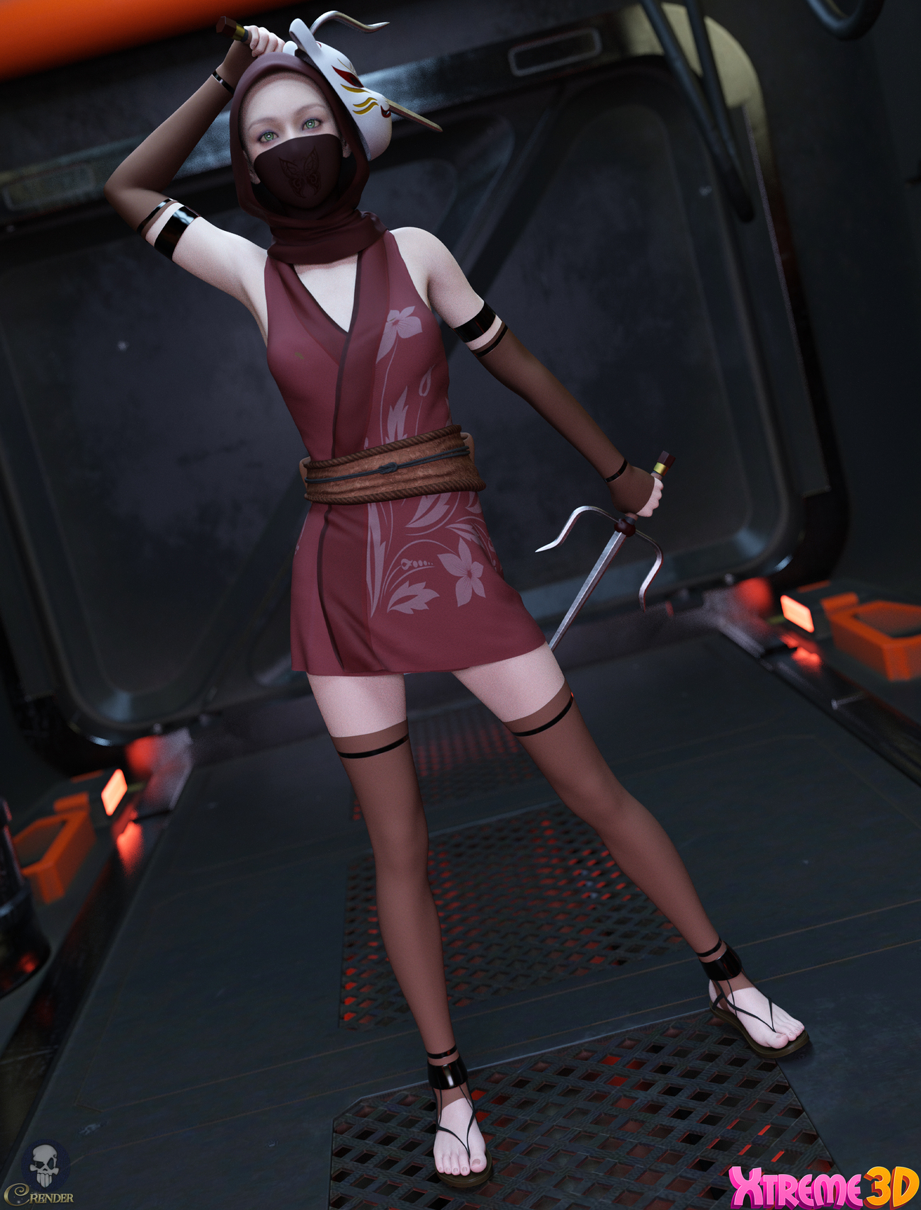 Fantasy Anime Outfit 9 _ Classic Ninja for G8F 2 by crender