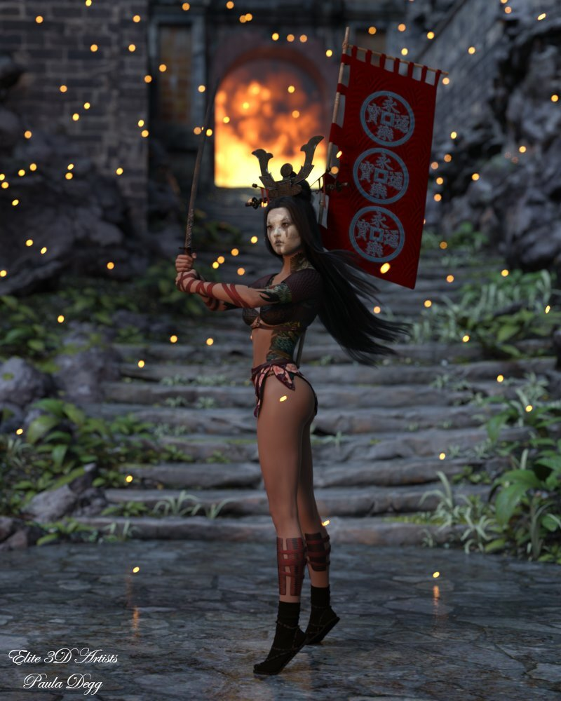 Samurai Girl Poses & Textures for GF8 / 07 by Elite3DArtists