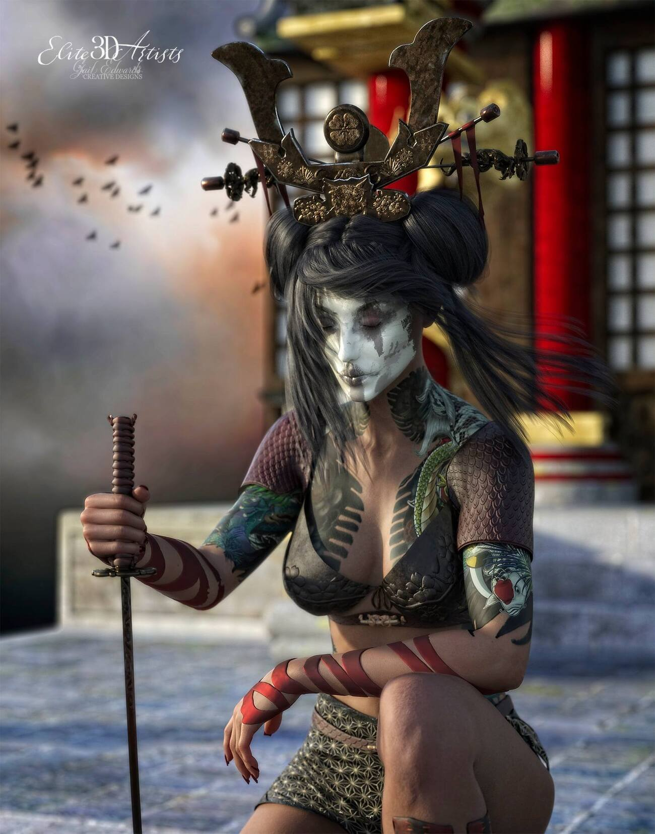 Samurai Girl Poses & Textures for GF8 / 06 by Elite3DArtists