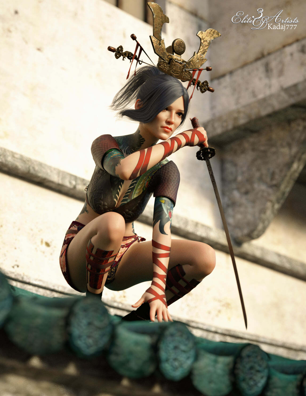 Samurai Girl Poses & Textures for GF8 / 02 by Elite3DArtists