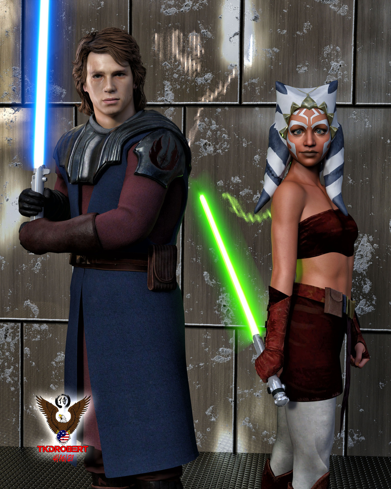 Anakin and Ahsoka by tkdrobert
