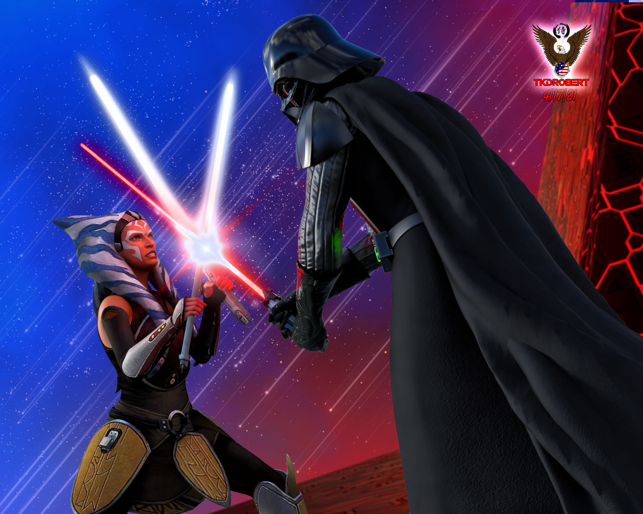 Ahsoka vs Darth Vader by tkdrobert