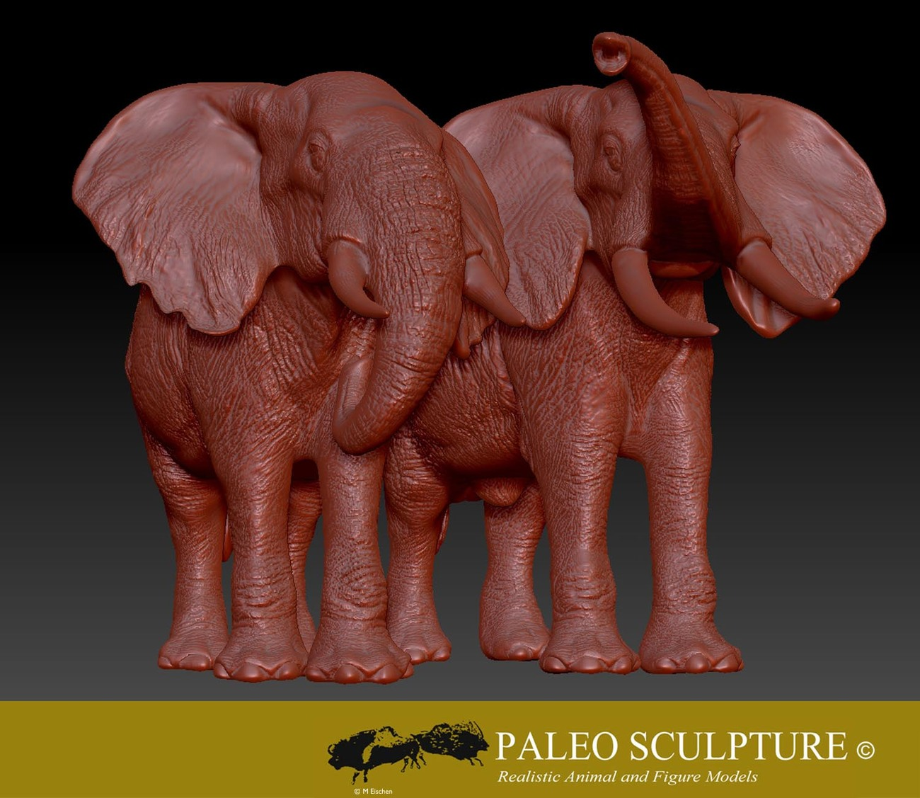 Two African Bush Elephants Sculpted in zbrush.