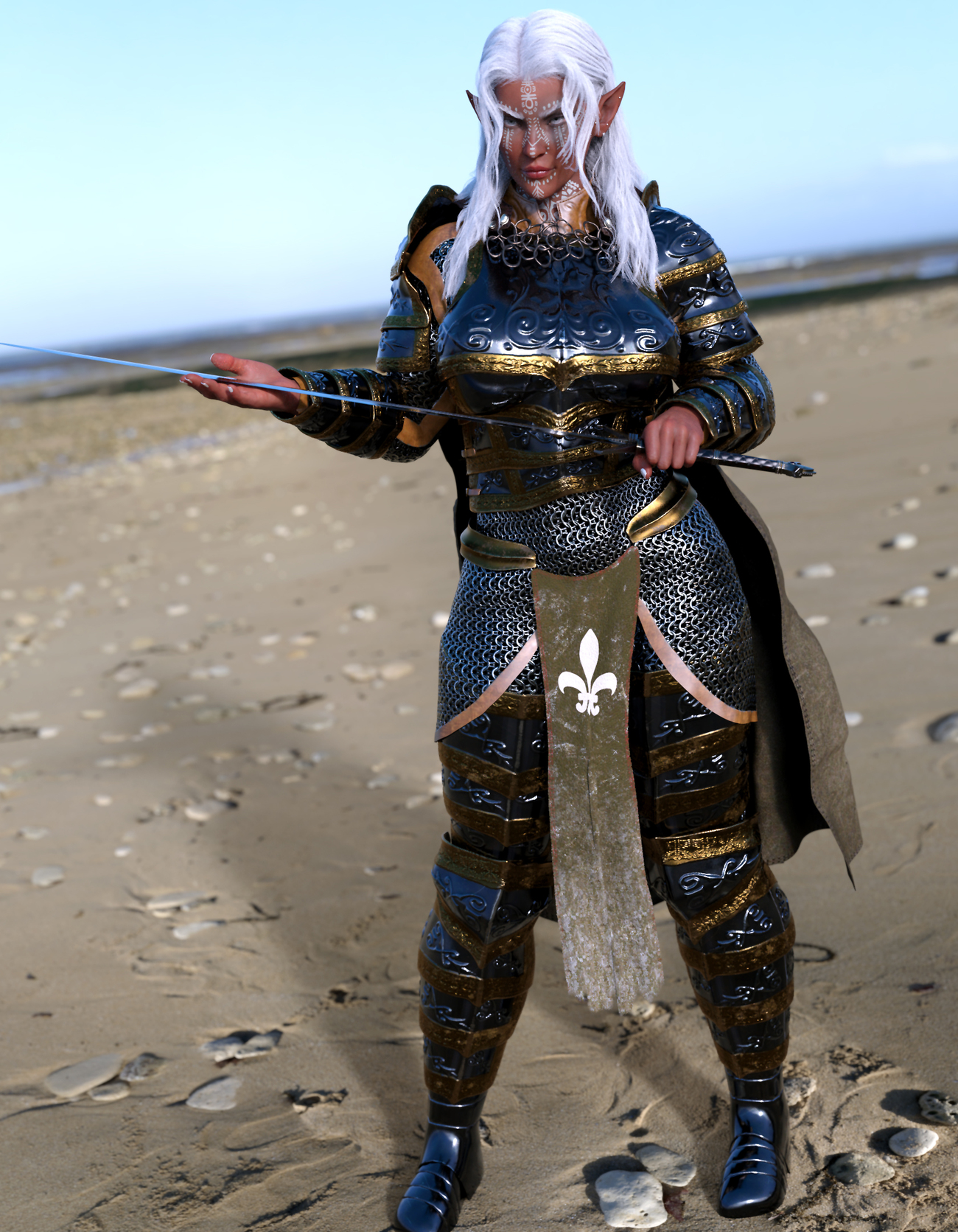 Here's a dark elf for you- Clad in Full plate Armo