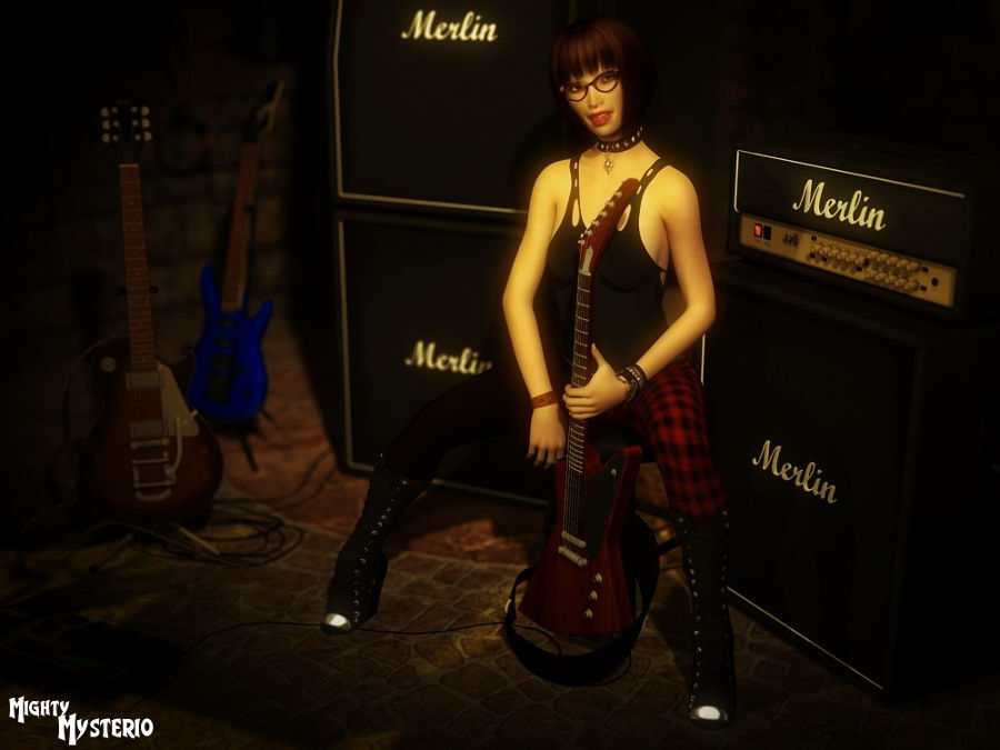 Fumiko and her Favorite Guitars by mightymysterio