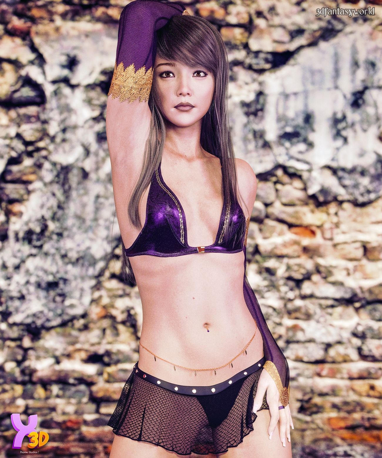 X-Fashion Leaves Belly Chain for G8F by fantasy3dworld