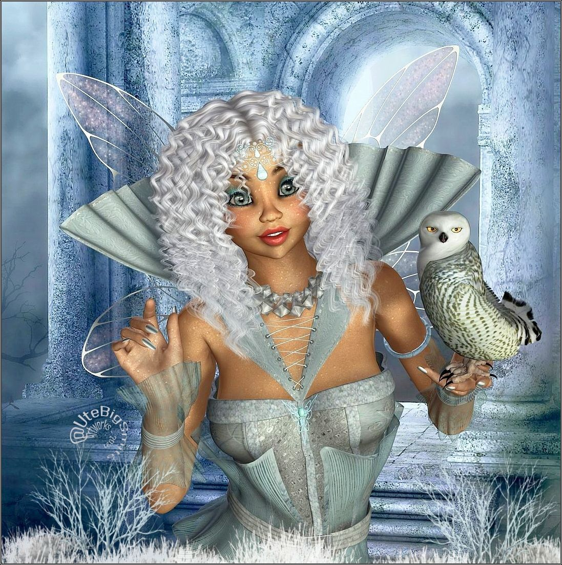 The little Icefairy and her Owl - for katyee by UteBigSmile