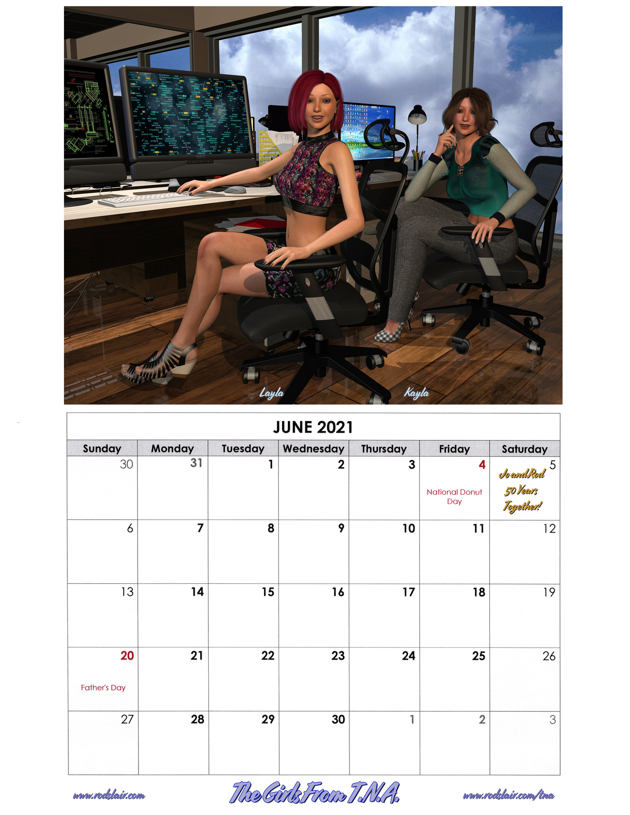 Girls From T.N.A. 2021 Calendar - June by RodS