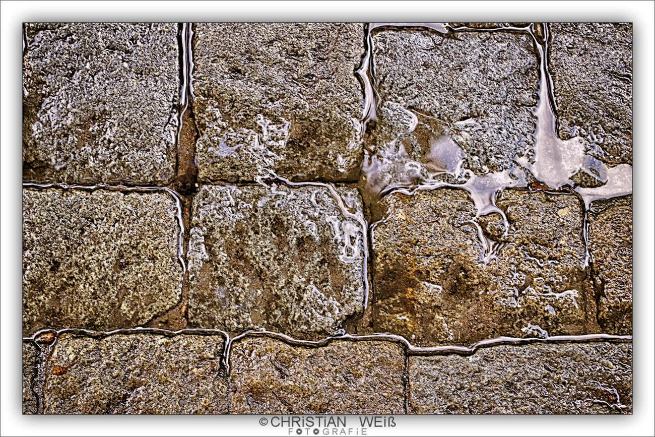 Small puddle on paving stones