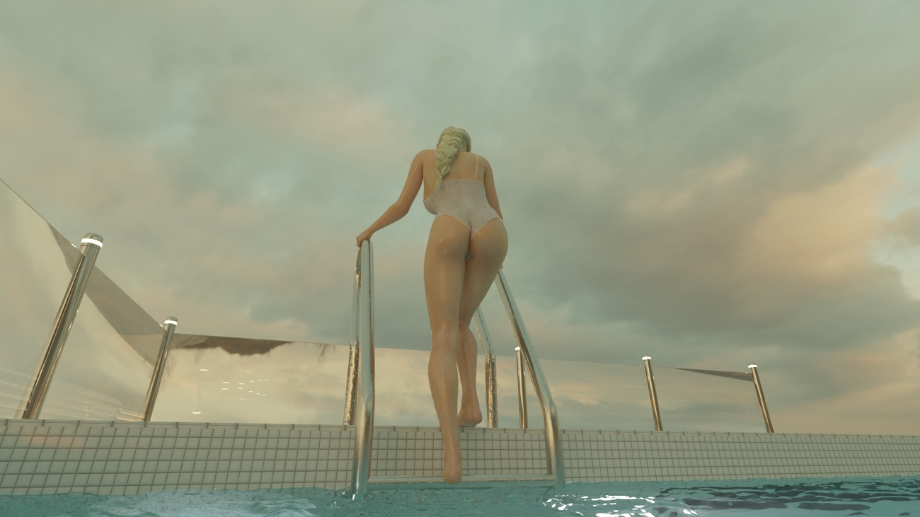 Jessica getting out of water by mifdesign