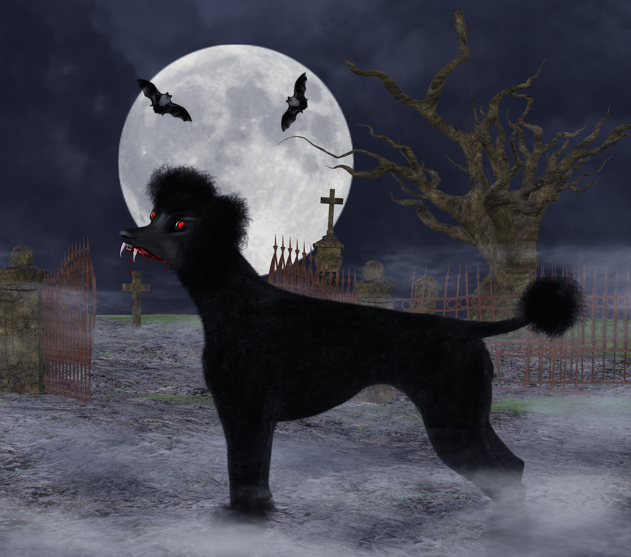 Toofy-Vampire Poodle by Digitell