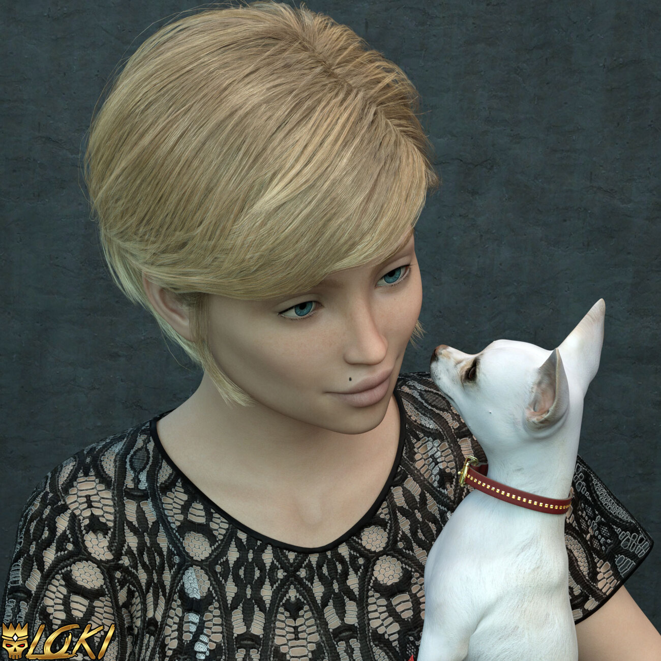 Chloe and her pupper by 3DLoki