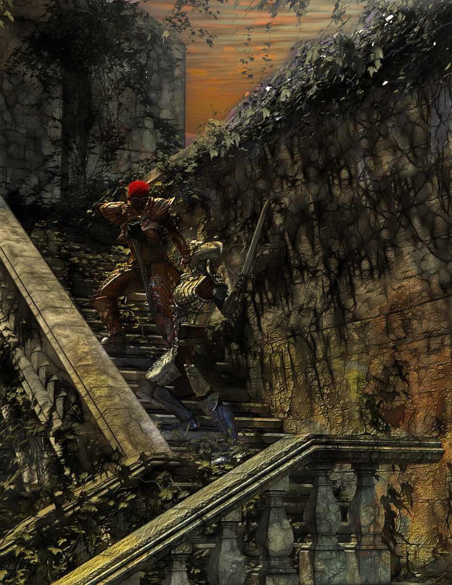 duel on the stairs by martial