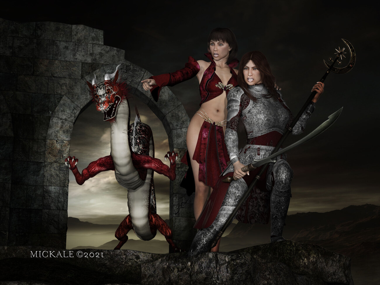 Red Dragon, Red Witch, Red Knight by mickale