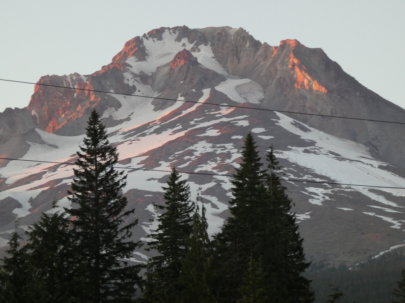 Top of Mount Hood at Sunset