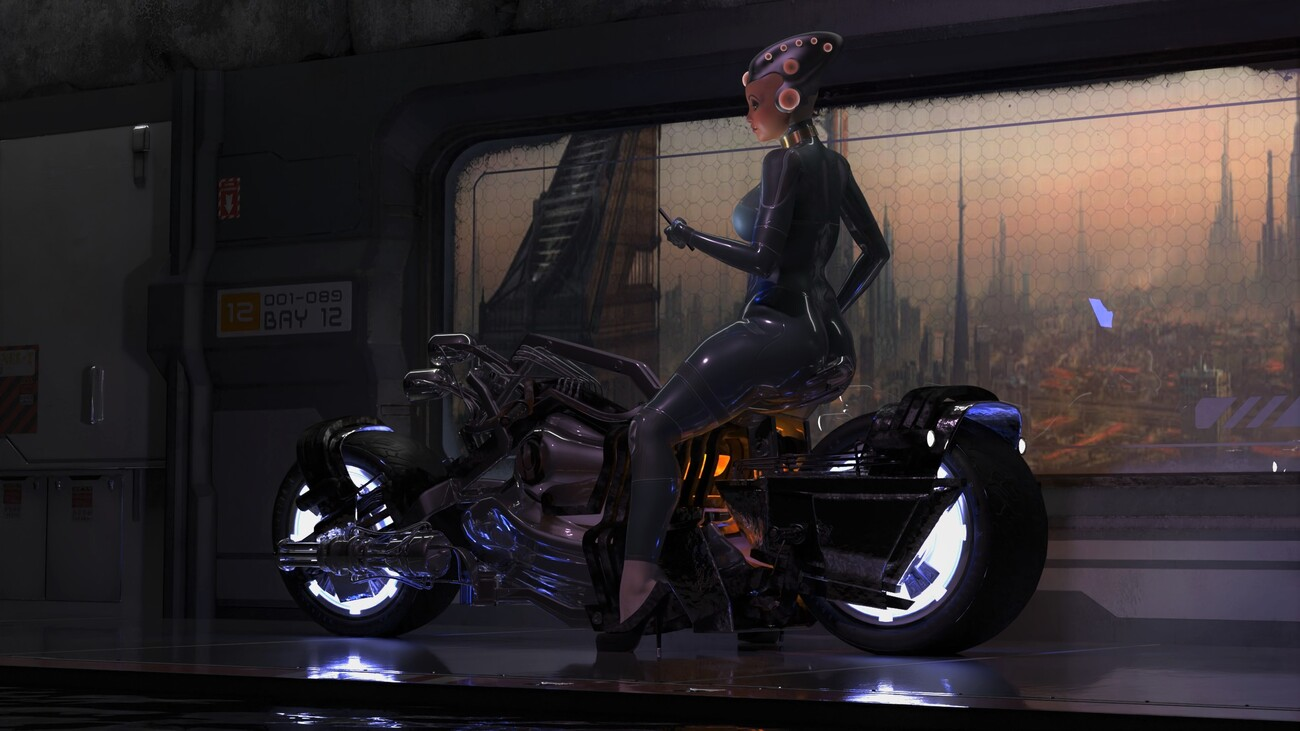biker girl from outer space 2 by poser4me