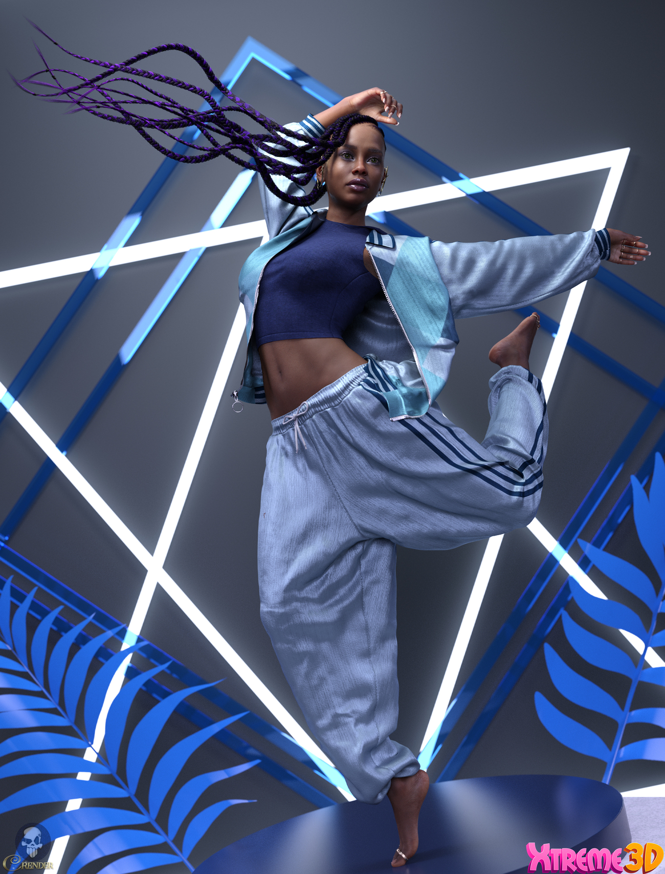 dForce Track Suit outfit for G8F 3 by crender