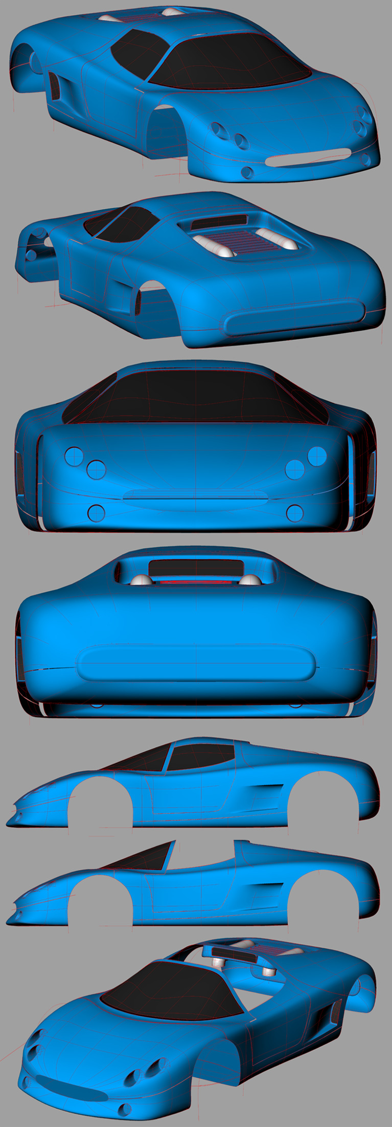 WIP - KAOM V02 Concept Car - Wireframes by kaom