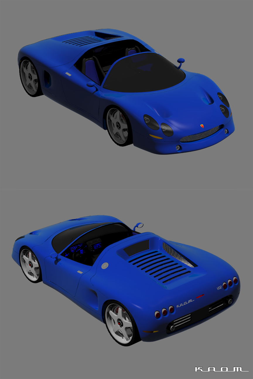 WIP - V02 Concept Car - Test Renders by kaom
